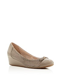 Cole Haan Tali Perforated Grand Low Heel Wedge Pumps Khaki