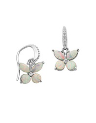 Lord And Taylor Fashion Stone Cubiz Zirconia And Sterling Silver Butterfly Earrings