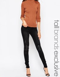 Noisy May Tall Lucy Skinny Jean With Leather Look Knee Patch Black