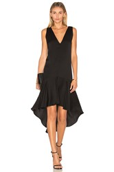Milly Deep V Flounce Dress Black