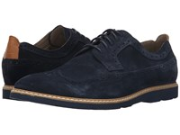 Clarks Gambeson Dress Navy Suede Men's Lace Up Wing Tip Shoes Blue
