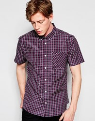 D Struct Short Sleeve Checked Shirt Red