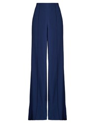 Adam By Adam Lippes High Waisted Wide Leg Satin Crepe Trousers Blue