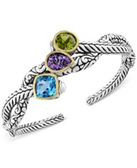 Effy Balissima By Multi Gemstone Open Cuff Bangle Bracelet 9 1 2 Ct. T.W. In Sterling Silver And 18K Gold