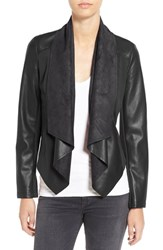 Kut From The Kloth Petite Women's 'Ana' Faux Leather Drape Front Jacket Black