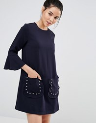 Sister Jane Shift Dress With Ruffle Sleeve And Sparkle Pockets Navy