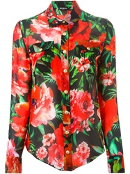 Balmain Floral Print Shirt Red