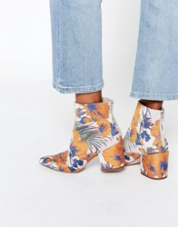 Asos Reach Pointed Jacquard Ankle Boots Jacquard Multi