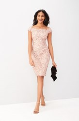 Adrianna Papell Women's Off The Shoulder Sequin Sheath Dress Rose Gold