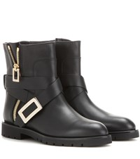 Roger Vivier Biker Zip Leather Ankle Boots Black