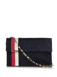 Tomasini Miura Striped Suede Shoulder Bag Navy Multi