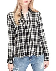 Miss Selfridge Check Pintuck Long Sleeve Button Down Shirt Black White