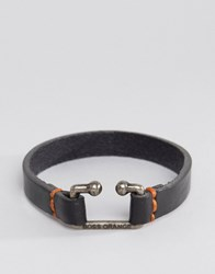 Hugo Boss Orange Morris Leather Bracelet In Black Black