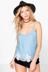 Boohoo Crochet Trim Denim Cami Top Blue