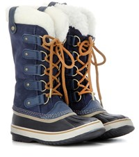 Sorel Joan Of Arctictm Shearling Trimmed Suede And Rubber Boots Blue