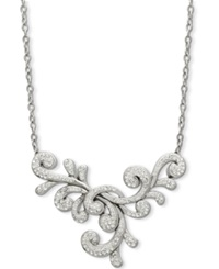 Kaleidoscope White 1 4 Ct. T.W. And Clear 1 3 8 Ct. T.W. Swarovski Crystal Fancy Y Shaped Necklace In Sterling Silver