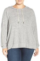 Sejour Plus Size Women's Hoodie Grey Pattern