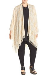 Plus Size Women's Eileen Fisher Plaid Wool And Cashmere Poncho Cardigan Brown Wheat