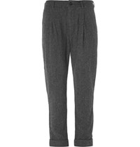 Engineered Garments Willy Herringbone Pleated Wool Trousers Gray