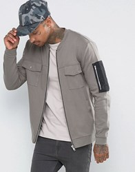 Asos Oversized Jersey Bomber Jacket With Woven Ma1 Pocket Storm Cloud Grey