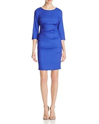 Nicole Miller Ruched Stretch Linen Dress Royal