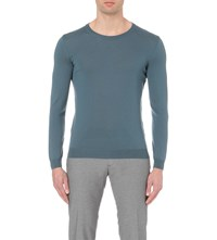 Hugo Boss Leisure Merino Wool Jumper Turquoise Aqua