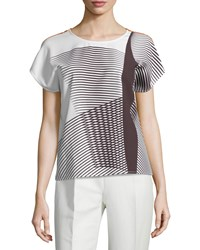Carolina Herrera Short Sleeve Spiral Print Top Umber Ivory