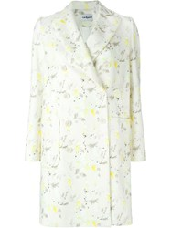 Cacharel Floral Print Double Breasted Coat Nude And Neutrals