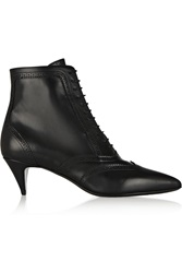 Saint Laurent Cat Brogue Style Leather Ankle Boots Black