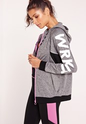 Missguided Active Zip Through Wrk It Hooded Jacket Grey Grey
