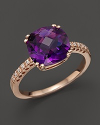 Bloomingdale's 14K Rose Gold Diamond And Amethyst Cushion Ring Purple Rose