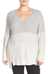 Nic Zoe Ombre V Neck Sweater Plus Size Grey Multi