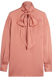 Lanvin Pussy Bow Charmeuse Blouse Antique Rose