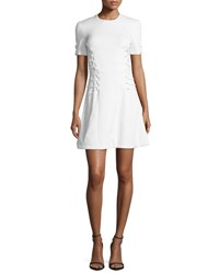 Cushnie Et Ochs Short Sleeve Cady Lace Up Dress White