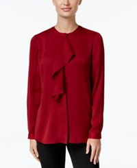 Charter Club Long Sleeve Ruffled Top Only At Macy's Cranberry