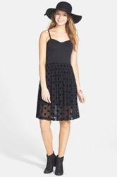 Frenchi Flocked Polka Dot Party Dress Juniors Black
