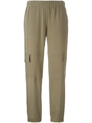 Theory Flap Pocket Straight Trousers Green