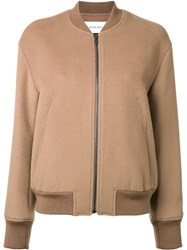 Le Ciel Bleu Ruffle Sleeve Bomber Jacket Brown