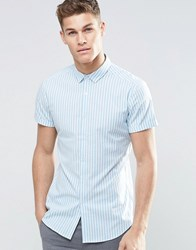 Asos Skinny Shirt In Bue Bengal Stripe With Short Sleeves Blue