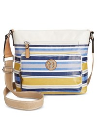 Giani Bernini Coated Canvas Multi Stripe Crossbody Only At Macy's Blue Multi