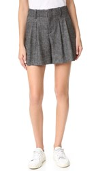Alice Olivia Eloise High Waist Pleated Shorts Charcoal