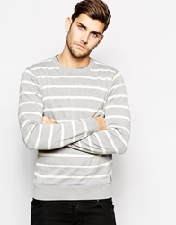 Ben Sherman Stripe Crew Neck Jumper Grey