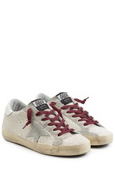 Golden Goose Super Star Glitter Sneakers Silver