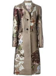 Valentino Floral Jacquard Coat Nude And Neutrals