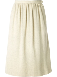 Yves Saint Laurent Vintage Pleated Jersey Skirt Nude And Neutrals