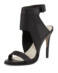 Pour La Victoire Venga Leather Ankle Wrap Sandal Black