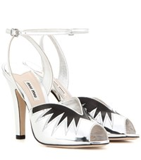 Miu Miu Metallic Leather Sandals Silver