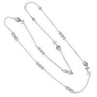 Nadia Minkoff Endless Pearl And Crystal Spike Necklace Pink Silver Pink Purple