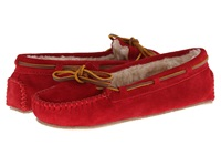 Minnetonka Cally Slipper Red Suede Women's Moccasin Shoes