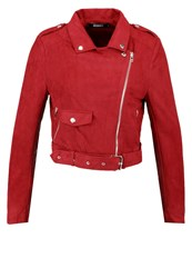 Missguided Faux Leather Jacket Berry